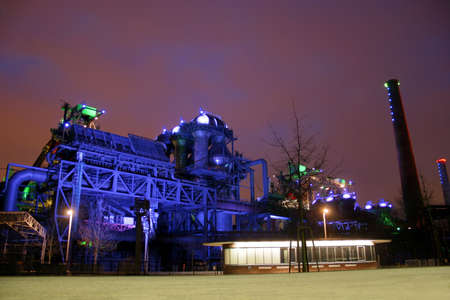 Landschaftspark Nord – old illuminated industrial ruins in the German Ruhr area city Duisburg Stock Photo