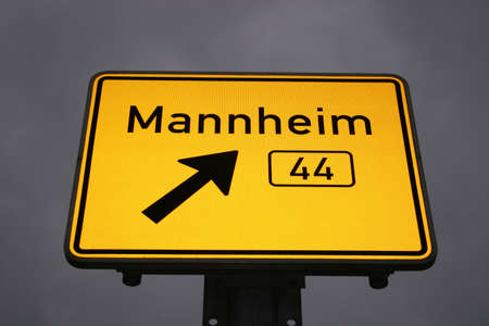 ortsschild: Directional sign to the german city Mannheim Stock Photo
