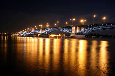 Rhine bridge Theodor-Heuss-Brücke between the german cities Mainz and Wiesbaden at night