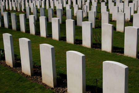 Graves at a war memorial cemetery in Kassel Niederzwehren, Germany photo