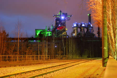 ruhr: Landschaftspark Nord � old illuminated industrial ruins in the German Ruhr area city Duisburg