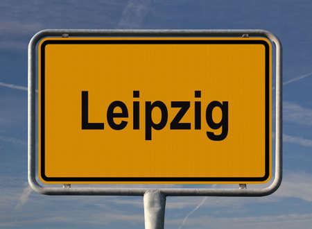 ortseingangsschild: Allgemeine Stadt Eintrag Zeichen von Leipzig, Sachsen in Deutschland