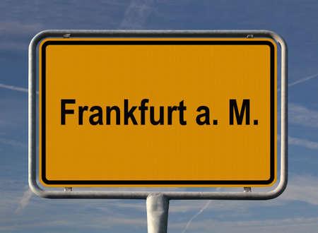 ortseingangsschild: Allgemeine Stadt Eintrag Zeichen von Frankfurt Am Main, Deutschland