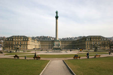 Square Schlossplatz and Neues Schloss (new castle) of the german city Stuttgart photo