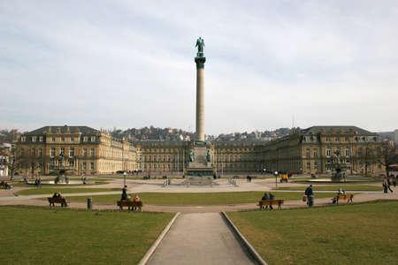 neues: Square Schlossplatz and Neues Schloss (new castle) of the german city Stuttgart Stock Photo