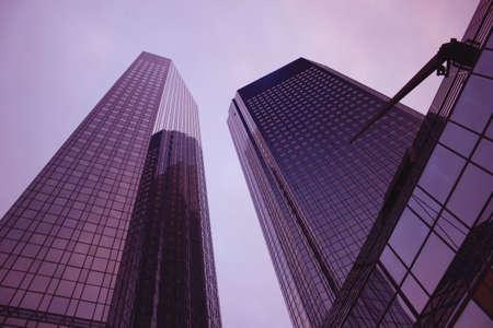Deutsche Bank twintowers in Frankfurt, Germany Stock Photo