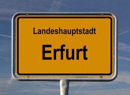 ortseingangsschild: Allgemeine Stadt Eintrag Zeichen von Erfurt, Hauptstadt von Th�ringen, Deutschland