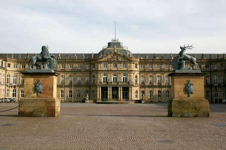 neues: Square Schlo�platz and Neues Schloss (new castle) of the german city Stuttgart Stock Photo
