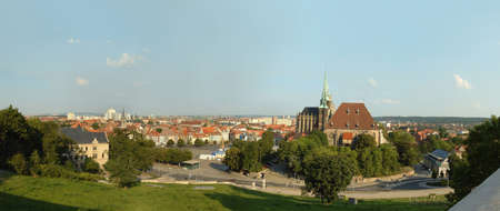 Erfurt (Germany) with cathedral Dom and Altstadt (historic city center) Stock Photo