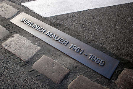 Place of the Berlin wall until 1989, now part of a street. Editorial