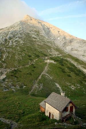 berchtesgaden: Mount Watzmann (peak Hocheck) in the german Alps near Berchtesgaden, seen from Watzmannhaus