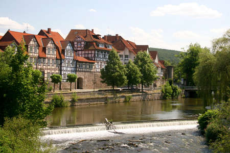 Idyllic city Hann M�nden in Germany and river Fulda, famous for his beautiful half-timbered architecture photo
