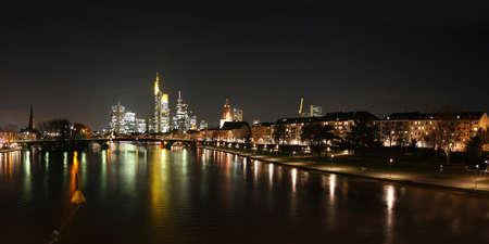 Skyline of Frankfurt and river Main, Germany