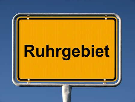 ortseingangsschild: Allgemeine Stadt Eintrag Zeichen der Ruhrgebiet, kleinen� gr��te megalopolis Lizenzfreie Bilder