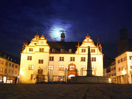 moon  metropolis: Town hall of the german city Darmstadt with moonlight Stock Photo