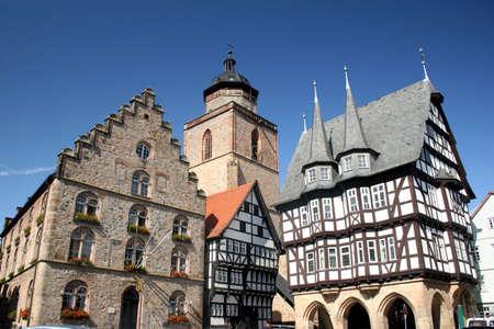 Historic center of the german city Alsfeld with Weinhaus, Church Walpurgiskirche and town hall Stock Photo