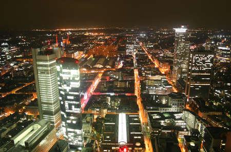 German city Frankfurt with financial district Westend at night photo