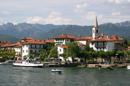 Lago Maggiore and Isola Superiore (dei Pescatori), Italian Alps Stock Photo