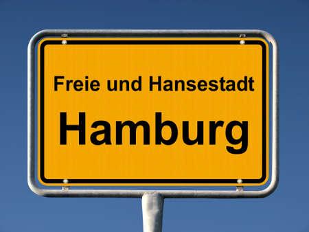 ortsschild: Common city sign of Hamburg, Germany