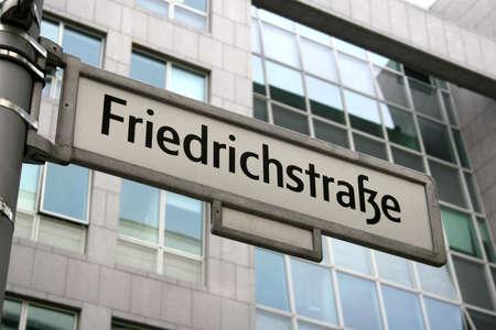 Sign of famous street Friedrichstrasse in Berlin, Germany photo