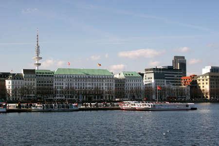 Lake Binnenalster in Hamburg, Germany
