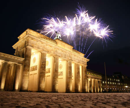 brandenburg gate: Firework at the Brandenburg Gate in Berlin Stock Photo