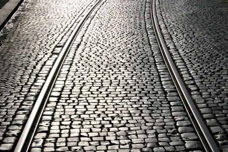 tramway: Tramway rails with cobblestone in Kassel, Germany
