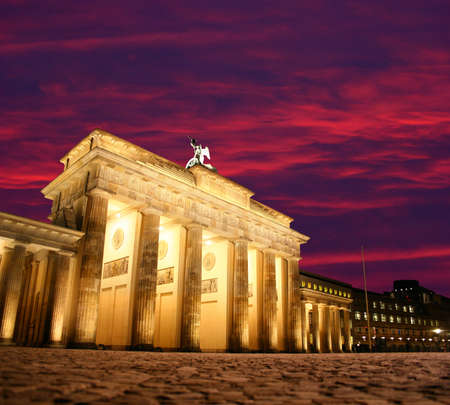 brandenburg gate: Dawn at Brandenburg Gate in Berlin, Germany Stock Photo