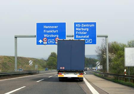 Truck on a german highway near Kassel Stock Photo