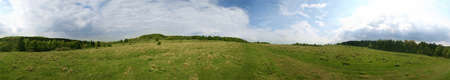 360° panorama of a meadow in the german Habichtswald mountains near Kassel