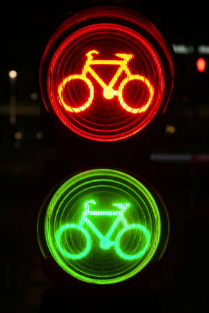 Green and red traffic light for bicyclists Stock Photo - 8733313