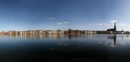 Panorama of lake Pfaffenteich in Schwerin, Germany Stock Photo