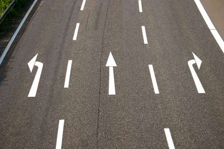 road sign highway sign: Left, straight, right?