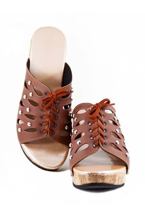 shoestring: Brown high heels with shoestring