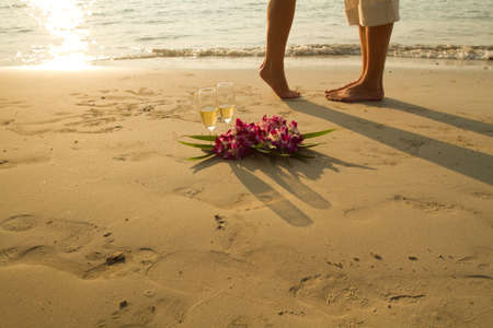 paradise place: wedding couple on the paradise beach - with place for the text Stock Photo