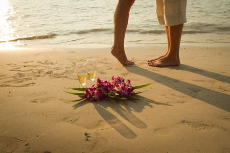 gentle dream vacation: wedding couple on the paradise beach - with place for the text Stock Photo
