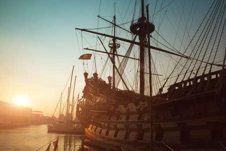 genoa: Genova view - old big ship in port of Genoa on sunset Stock Photo