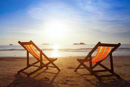 deck chair: beach Stock Photo