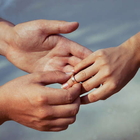 wedding ring hands: wedding ceremony, hands and ring Stock Photo