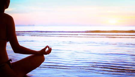 yoga silhouette: yoga, silhouette of meditating woman