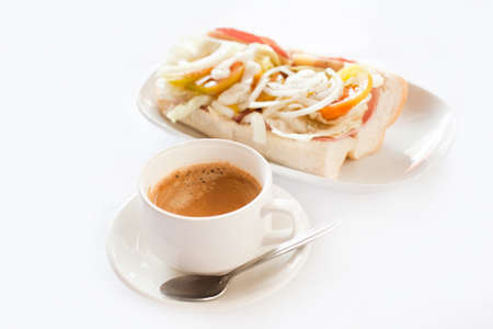 coffee and baguette isolated on white, breakfast photo