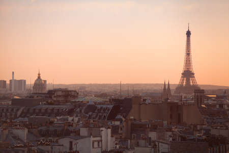 Paris panoramic view at sunset, Eiffel tower photo