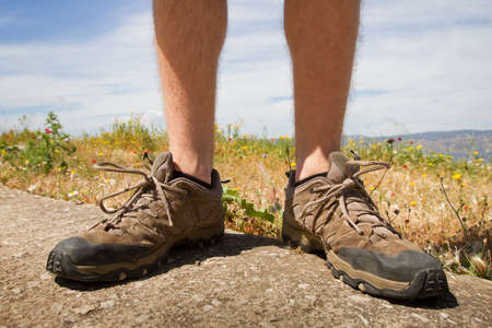hiking shoes: trekking shoes outdoor, legs of hiker
