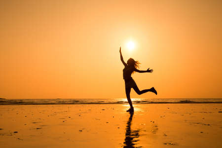 long life: abstract silhouette of happy young jumping girl, healthy life
