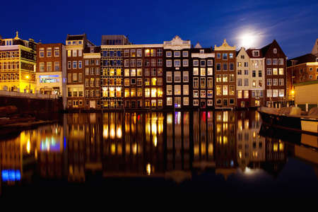 night view of Amsterdam, Holland photo