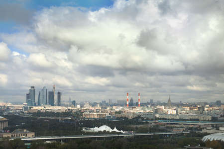 industry moody: urban cityscape, panorama of Moscow in cloudy day