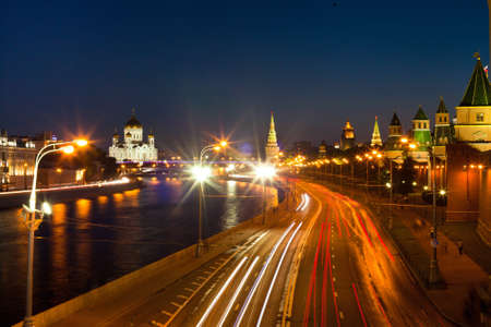 night view of Moscow river and traffic, Russia photo