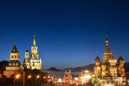 night view of Moscow, Red square and St. Basil cathedral  photo
