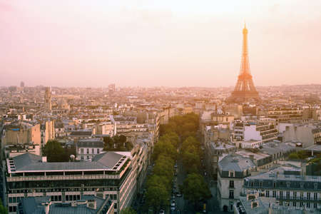 birds eye view: beautiful sunset over Paris, panoramic view from Arc de Triomphe