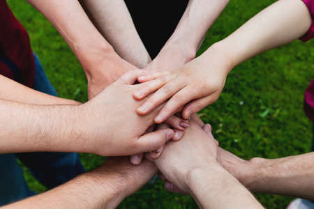 hands together: teamwork Stock Photo